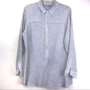 Lucky Brand Stripe Linen Quater Button Up Tunic
